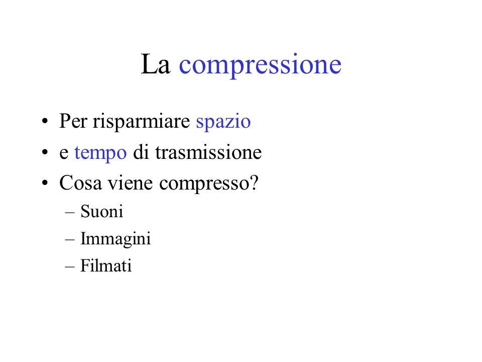 La compressione Per risparmiare spazio e tempo di trasmissione Cosa viene compresso? –Suoni –Immagini –Filmati