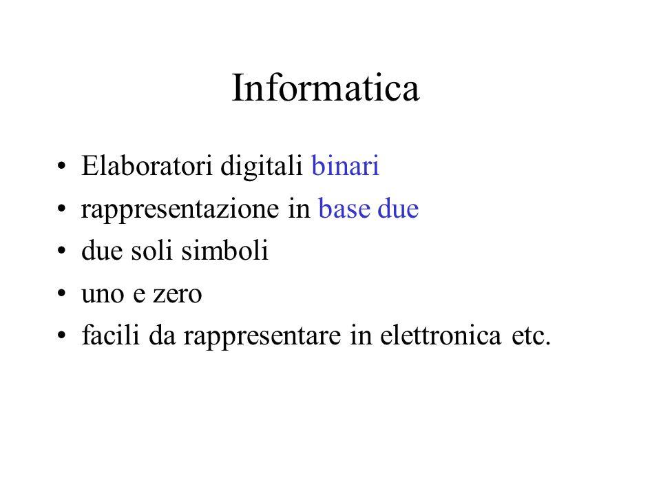Informatica Elaboratori digitali binari rappresentazione in base due due soli simboli uno e zero facili da rappresentare in elettronica etc.