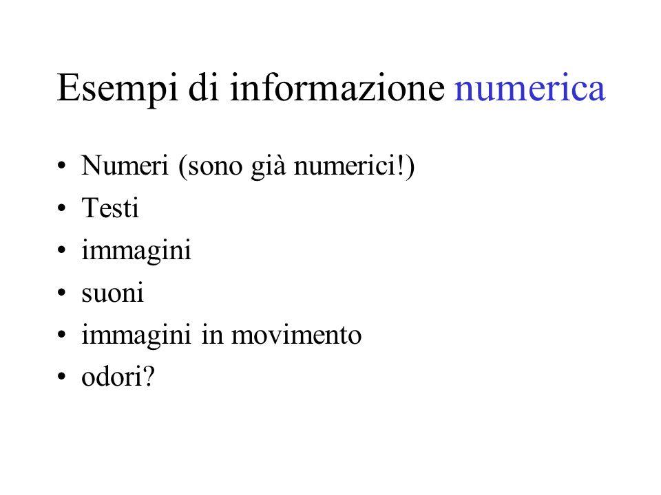 Esempi di informazione numerica Numeri (sono già numerici!) Testi immagini suoni immagini in movimento odori