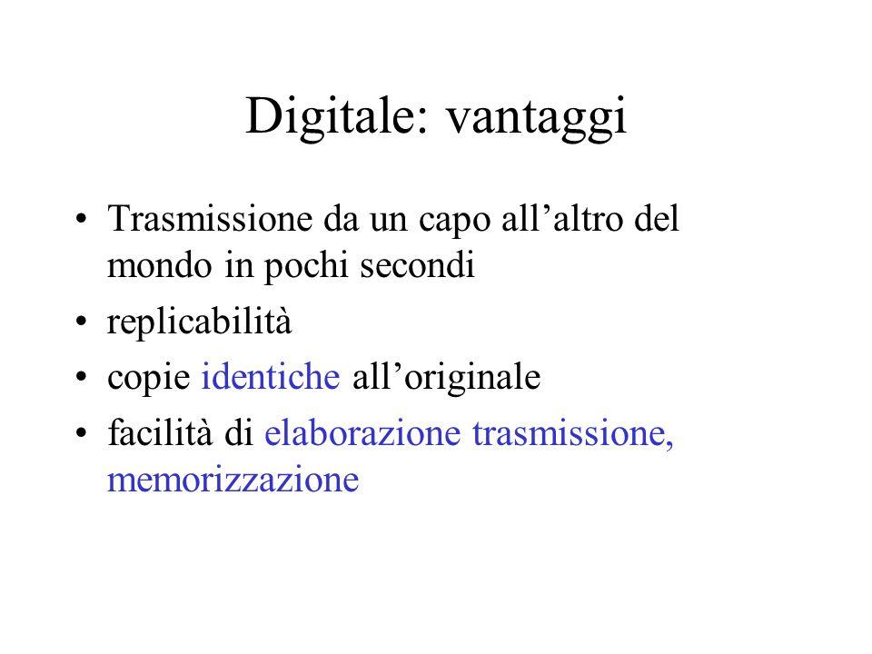 Digitale: vantaggi Trasmissione da un capo allaltro del mondo in pochi secondi replicabilità copie identiche alloriginale facilità di elaborazione trasmissione, memorizzazione