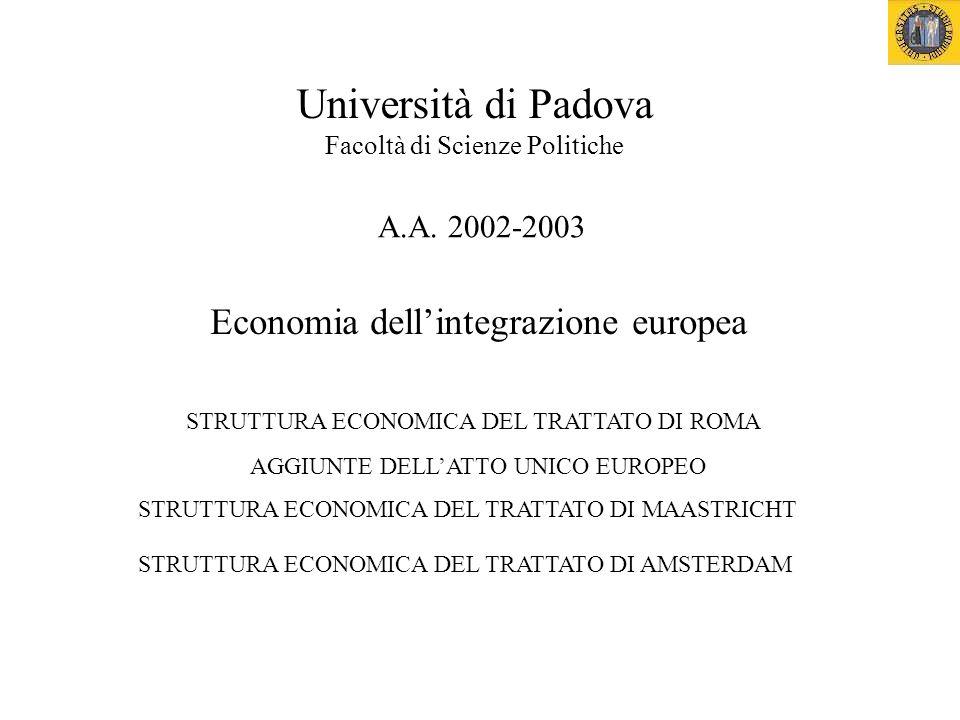 Economia dellintegrazione europea Università di Padova Facoltà di Scienze Politiche A.A.