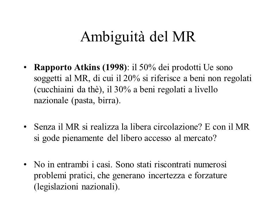 Ambiguità del MR Rapporto Atkins (1998): il 50% dei prodotti Ue sono soggetti al MR, di cui il 20% si riferisce a beni non regolati (cucchiaini da thè), il 30% a beni regolati a livello nazionale (pasta, birra).