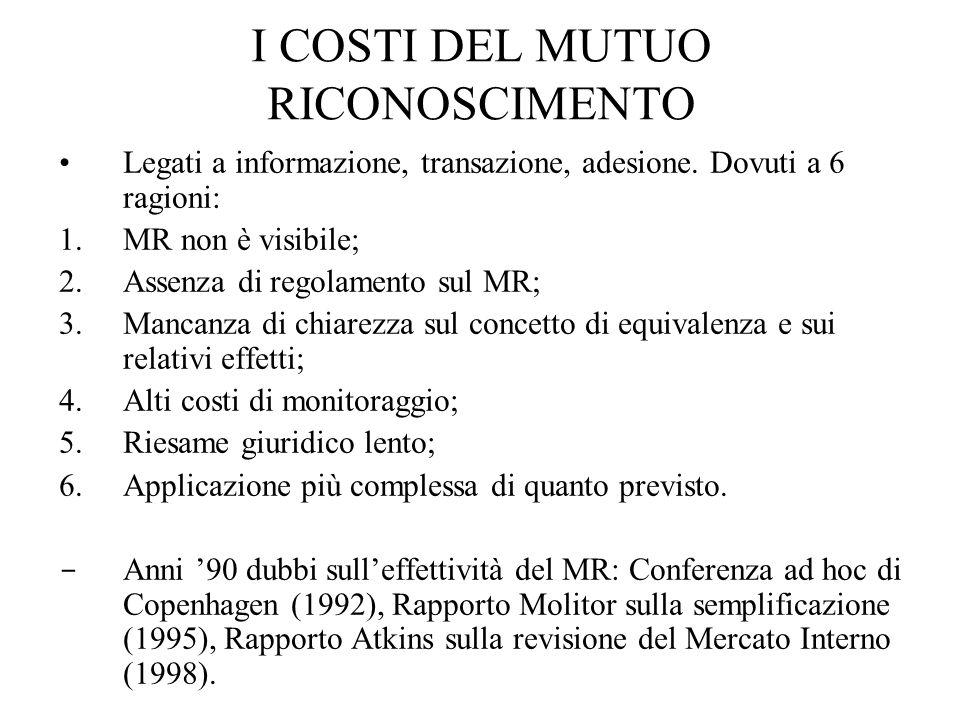 I COSTI DEL MUTUO RICONOSCIMENTO Legati a informazione, transazione, adesione.