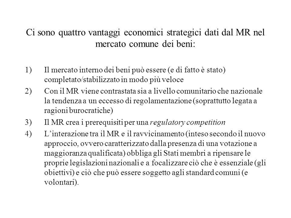 Ci sono quattro vantaggi economici strategici dati dal MR nel mercato comune dei beni: 1)Il mercato interno dei beni può essere (e di fatto è stato) completato/stabilizzato in modo più veloce 2)Con il MR viene contrastata sia a livello comunitario che nazionale la tendenza a un eccesso di regolamentazione (soprattutto legata a ragioni burocratiche) 3)Il MR crea i prerequisiti per una regulatory competition 4)Linterazione tra il MR e il ravvicinamento (inteso secondo il nuovo approccio, ovvero caratterizzato dalla presenza di una votazione a maggioranza qualificata) obbliga gli Stati membri a ripensare le proprie legislazioni nazionali e a focalizzare ciò che è essenziale (gli obiettivi) e ciò che può essere soggetto agli standard comuni (e volontari).