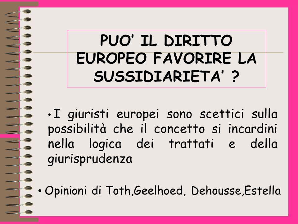 PUO IL DIRITTO EUROPEO FAVORIRE LA SUSSIDIARIETA .
