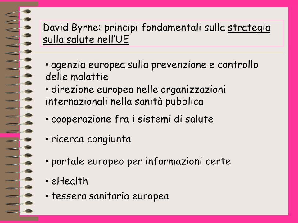 David Byrne: principi fondamentali sulla strategia sulla salute nellUE agenzia europea sulla prevenzione e controllo delle malattie cooperazione fra i sistemi di salute ricerca congiunta portale europeo per informazioni certe eHealth tessera sanitaria europea direzione europea nelle organizzazioni internazionali nella sanità pubblica