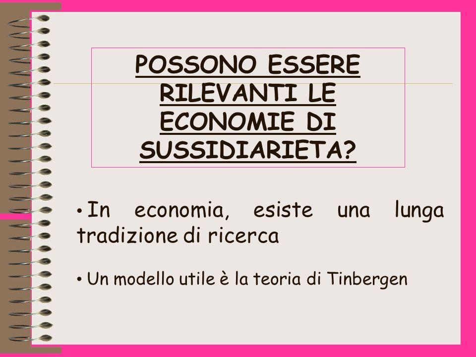 POSSONO ESSERE RILEVANTI LE ECONOMIE DI SUSSIDIARIETA.