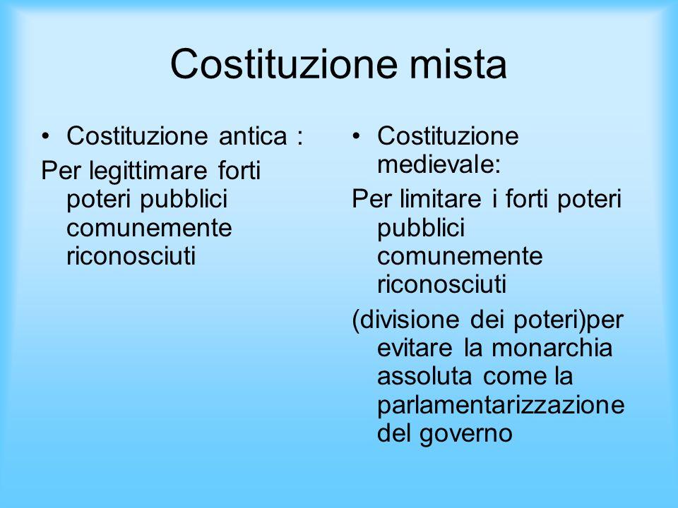 Costituzione mista Costituzione antica : Per legittimare forti poteri pubblici comunemente riconosciuti Costituzione medievale: Per limitare i forti p