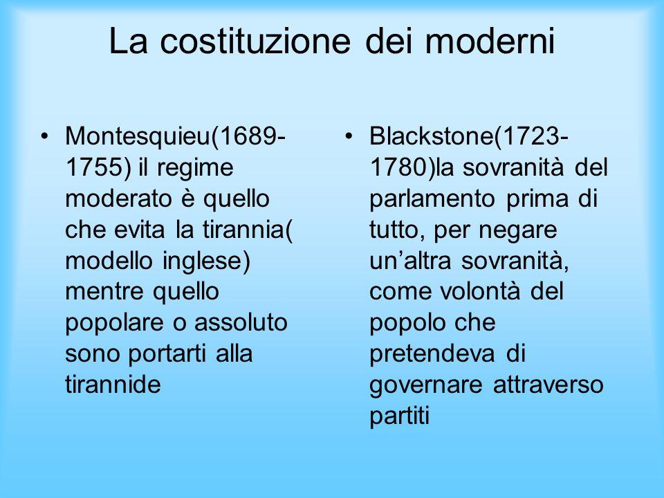 La costituzione dei moderni Montesquieu(1689- 1755) il regime moderato è quello che evita la tirannia( modello inglese) mentre quello popolare o assol