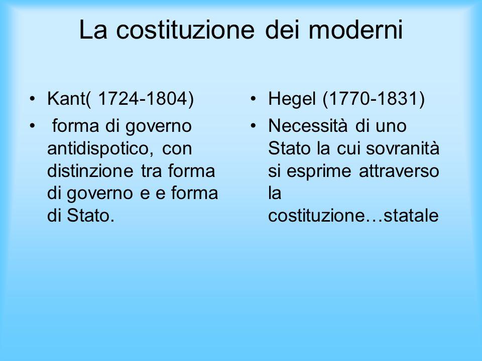 La costituzione dei moderni Kant( 1724-1804) forma di governo antidispotico, con distinzione tra forma di governo e e forma di Stato. Hegel (1770-1831