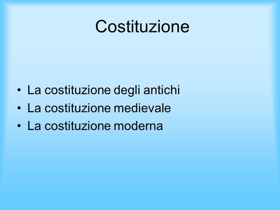 Costituzione La costituzione degli antichi La costituzione medievale La costituzione moderna