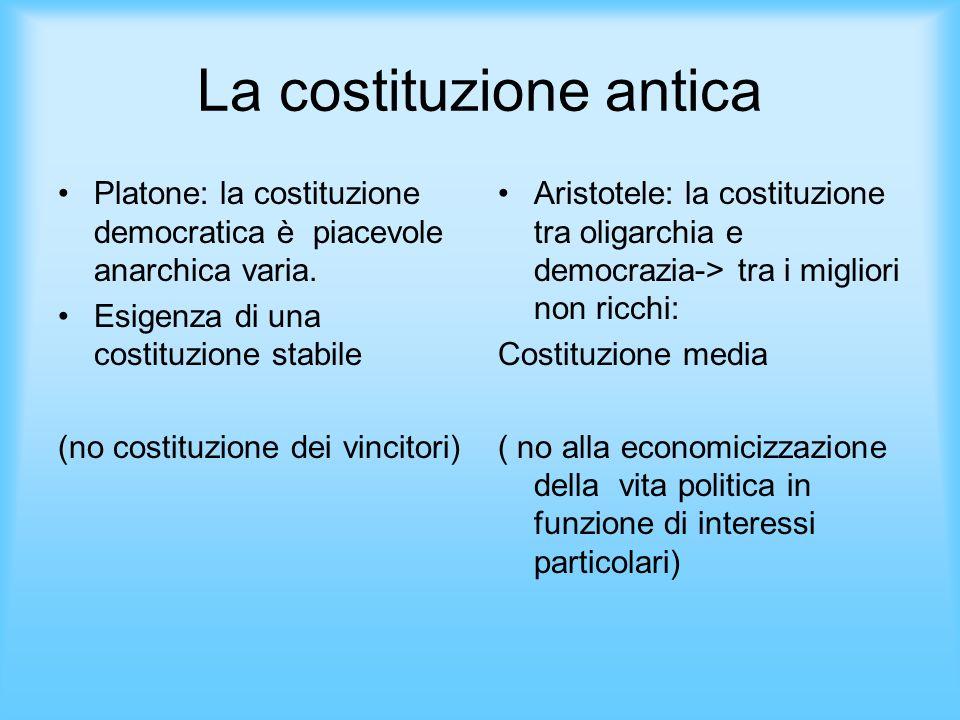 La costituzione antica Platone: la costituzione democratica è piacevole anarchica varia. Esigenza di una costituzione stabile (no costituzione dei vin