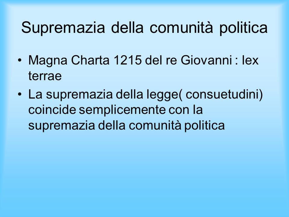 Supremazia della comunità politica Magna Charta 1215 del re Giovanni : lex terrae La supremazia della legge( consuetudini) coincide semplicemente con