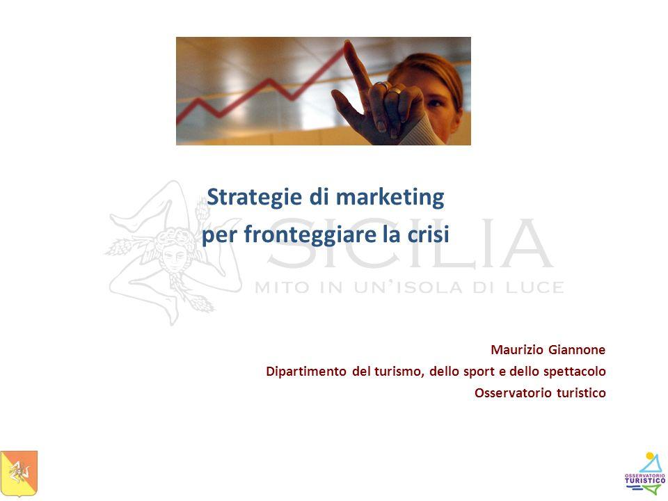 Maurizio Giannone Dipartimento del turismo, dello sport e dello spettacolo Osservatorio turistico Strategie di marketing per fronteggiare la crisi