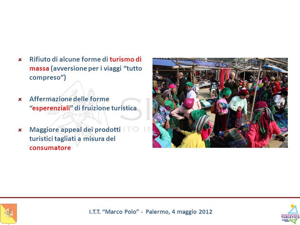 I.T.T. Marco Polo - Palermo, 4 maggio 2012 Rifiuto di alcune forme di turismo di massa (avversione per i viaggi tutto compreso) Affermazione delle for