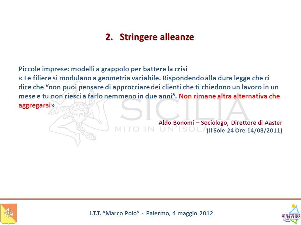 I.T.T. Marco Polo - Palermo, 4 maggio 2012 Piccole imprese: modelli a grappolo per battere la crisi « Le filiere si modulano a geometria variabile. Ri