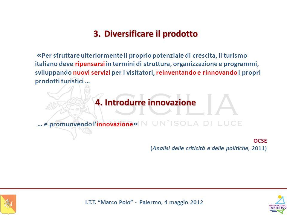 I.T.T. Marco Polo - Palermo, 4 maggio 2012 3.Diversificare il prodotto « Per sfruttare ulteriormente il proprio potenziale di crescita, il turismo ita