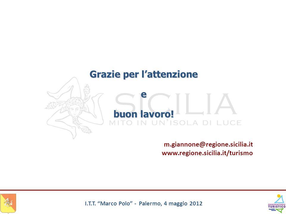 I.T.T. Marco Polo - Palermo, 4 maggio 2012 Grazie per lattenzione e buon lavoro! m.giannone@regione.sicilia.it www.regione.sicilia.it/turismo