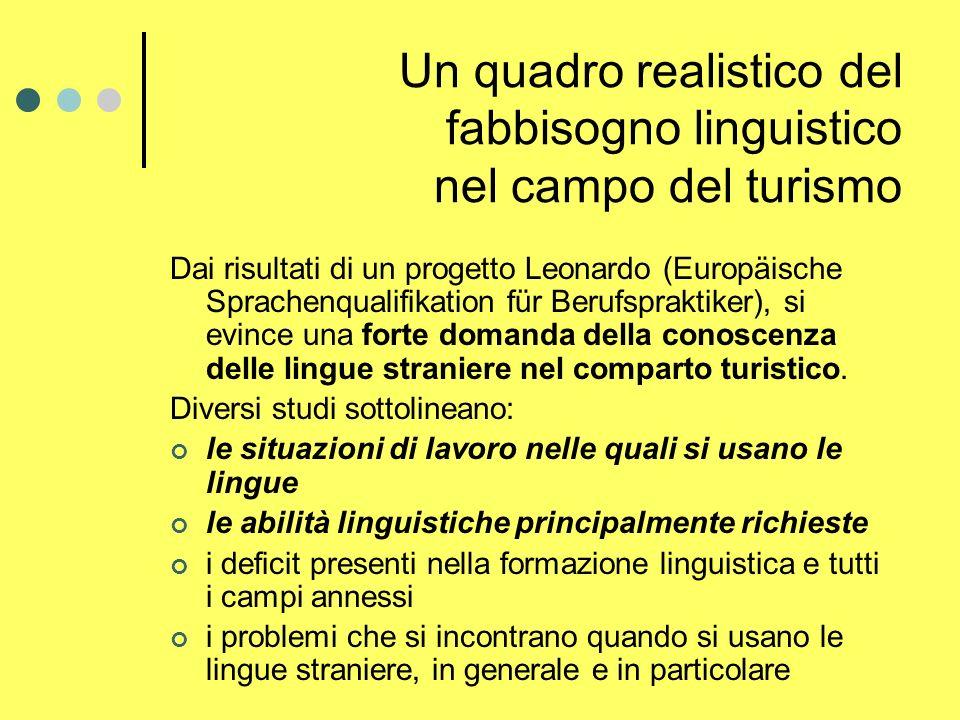 Un quadro realistico del fabbisogno linguistico nel campo del turismo Dai risultati di un progetto Leonardo (Europäische Sprachenqualifikation für Berufspraktiker), si evince una forte domanda della conoscenza delle lingue straniere nel comparto turistico.