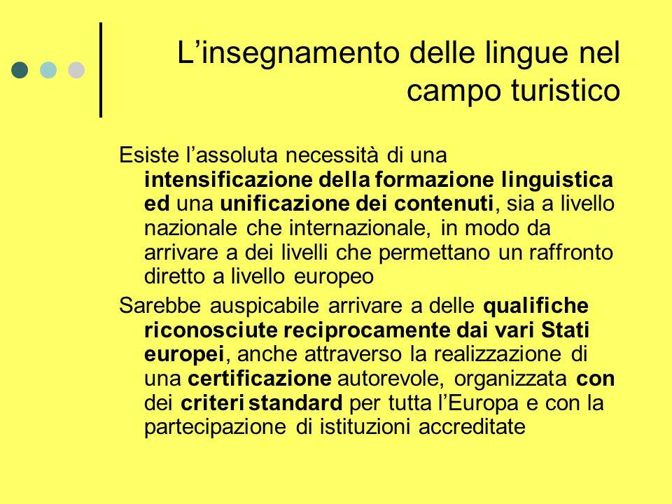 Linsegnamento delle lingue nel campo turistico Esiste lassoluta necessità di una intensificazione della formazione linguistica ed una unificazione dei contenuti, sia a livello nazionale che internazionale, in modo da arrivare a dei livelli che permettano un raffronto diretto a livello europeo Sarebbe auspicabile arrivare a delle qualifiche riconosciute reciprocamente dai vari Stati europei, anche attraverso la realizzazione di una certificazione autorevole, organizzata con dei criteri standard per tutta lEuropa e con la partecipazione di istituzioni accreditate