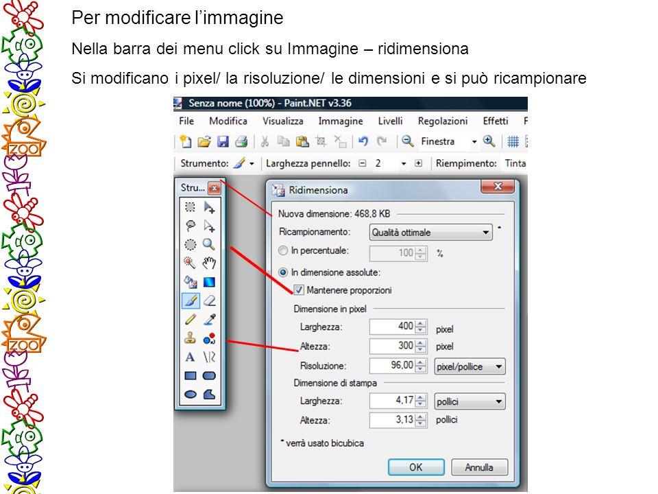 Per modificare limmagine Nella barra dei menu click su Immagine – ridimensiona Si modificano i pixel/ la risoluzione/ le dimensioni e si può ricampionare