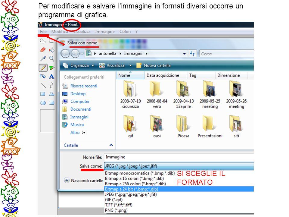 Per modificare e salvare limmagine in formati diversi occorre un programma di grafica.