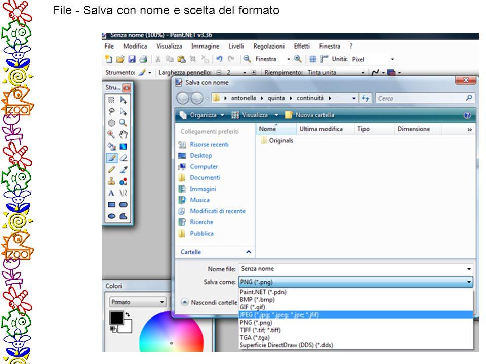 File - Salva con nome e scelta del formato