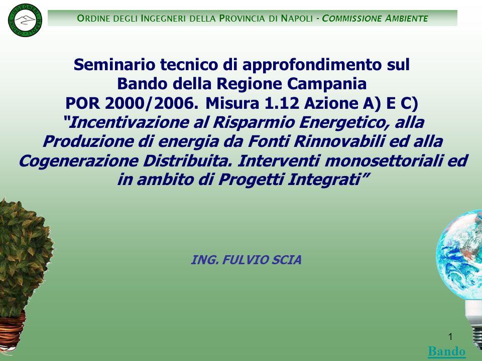 O RDINE DEGLI I NGEGNERI DELLA P ROVINCIA DI N APOLI - C OMMISSIONE A MBIENTE 2 Con Delibera di Giunta Regionale n° 168 del 15 febbraio 2005 è stato approvato il DISCIPLINARE REGIONALE – MISURA 1.12 AZIONE a) E c) quale strumento della Regione Campania a sostegno degli interventi di produzione di energia elettrica da fonte rinnovabile e di risparmio energetico, a valere sui fondi della misura 1.12 del POR Campania 2000-2006, nel rispetto delle condizioni del Regolamento 70/2001/CE DISCIPLINARE