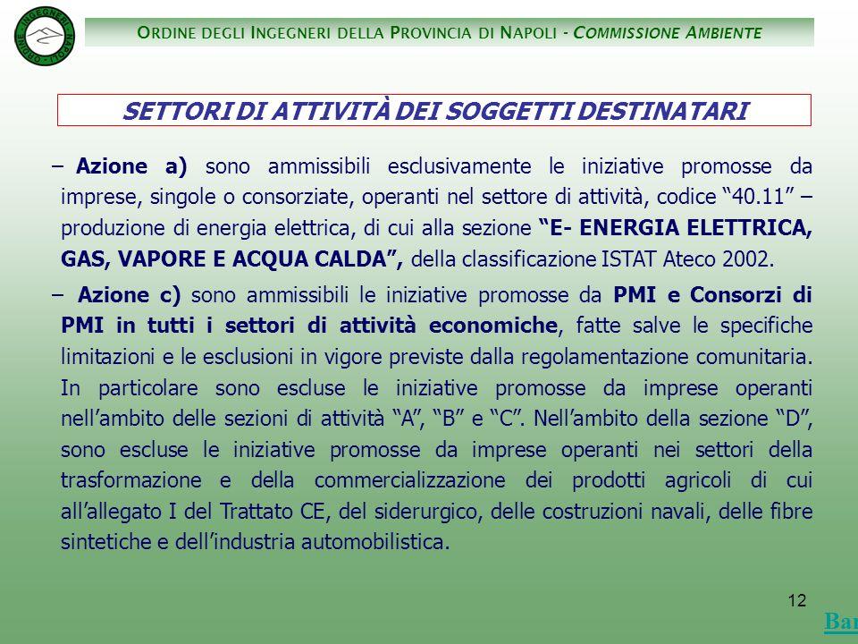 O RDINE DEGLI I NGEGNERI DELLA P ROVINCIA DI N APOLI - C OMMISSIONE A MBIENTE 12 – Azione a) sono ammissibili esclusivamente le iniziative promosse da imprese, singole o consorziate, operanti nel settore di attività, codice 40.11 – produzione di energia elettrica, di cui alla sezione E- ENERGIA ELETTRICA, GAS, VAPORE E ACQUA CALDA, della classificazione ISTAT Ateco 2002.