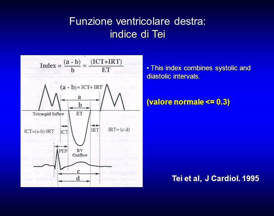 This index combines systolic and diastolic intervals. This index combines systolic and diastolic intervals. (valore normale <= 0.3) Tei et al, J Cardi