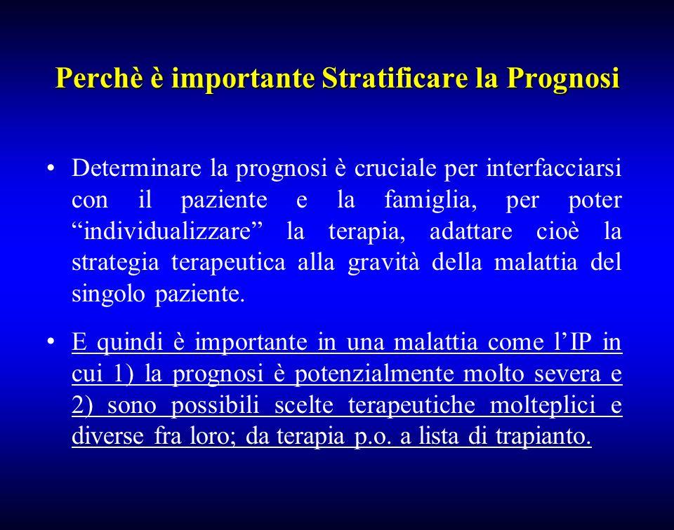 Perchè è importante Stratificare la Prognosi Determinare la prognosi è cruciale per interfacciarsi con il paziente e la famiglia, per poter individual