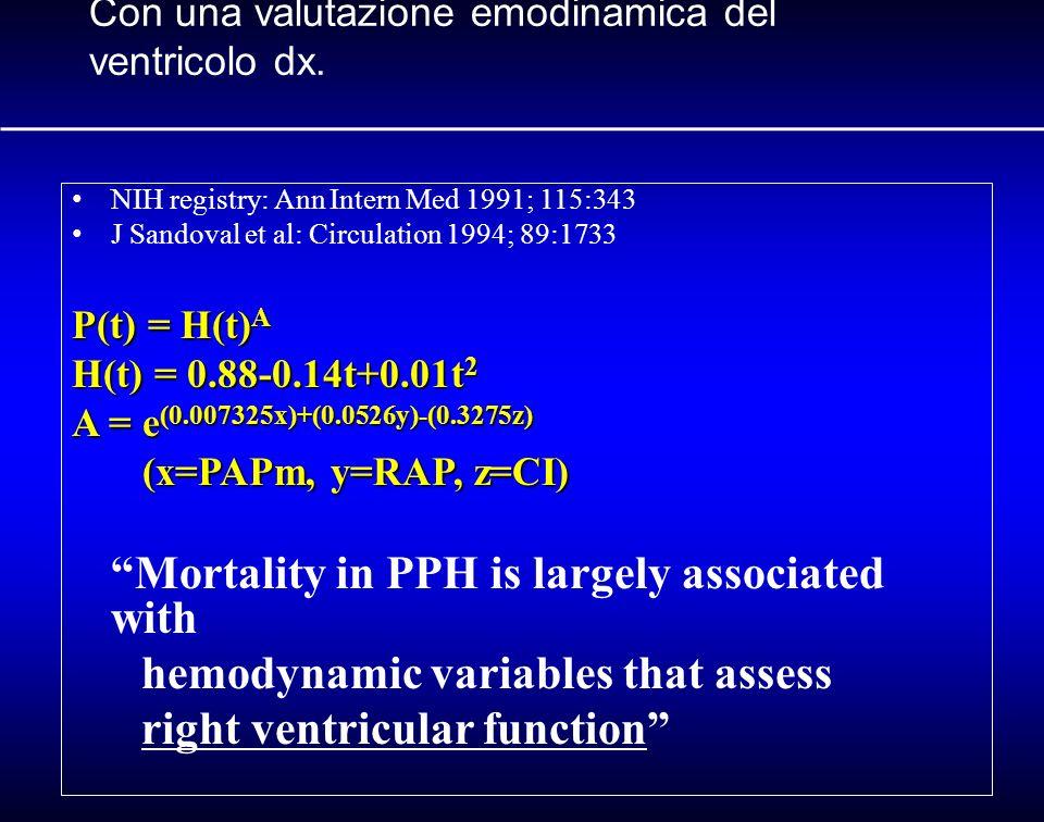Con una valutazione emodinamica del ventricolo dx. NIH registry: Ann Intern Med 1991; 115:343 J Sandoval et al: Circulation 1994; 89:1733 P(t) = H(t)