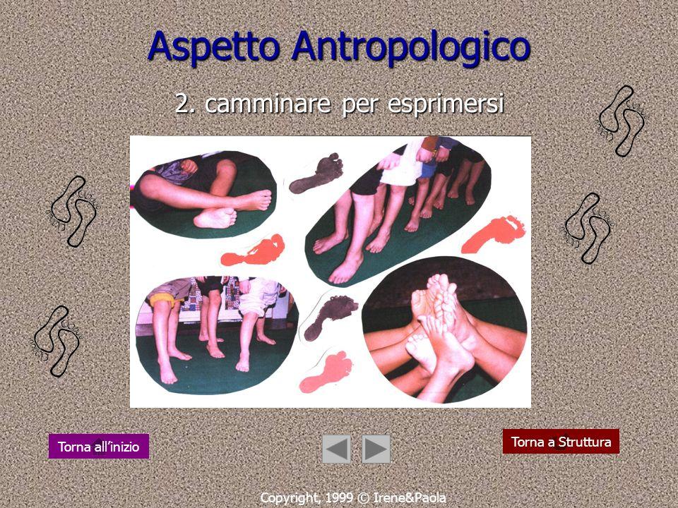 Aspetto Antropologico 1. camminare per conoscere e conoscersi Copyright, 1999 © Irene&Paola Torna a struttura Torna allinizio