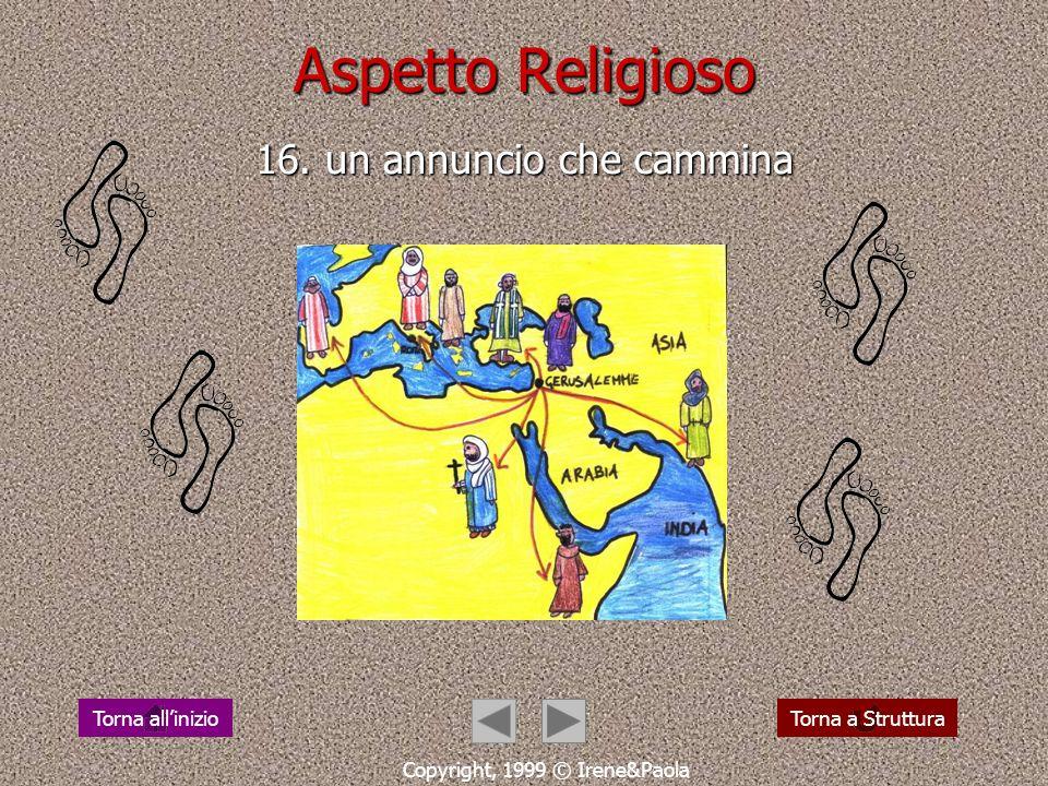 Aspetto Religioso 15. camminare col risorto da risorti Copyright, 1999 © Irene&Paola Torna a StrutturaTorna allinizio