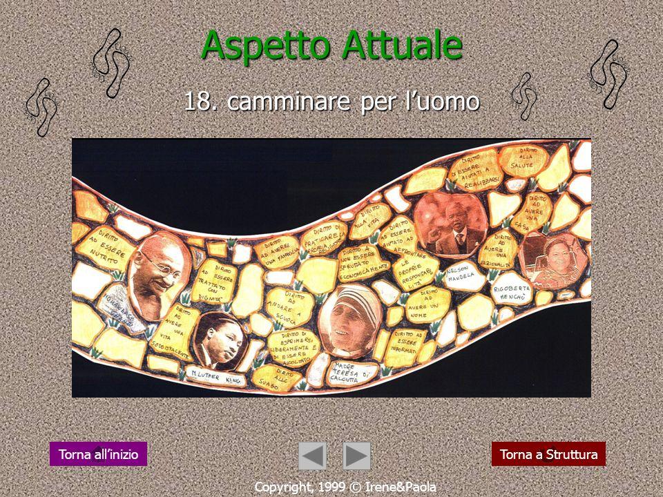 Aspetto Attuale 17. oggi qualcuno cammina così Copyright, 1999 © Irene&Paola Torna a StrutturaTorna allinizio