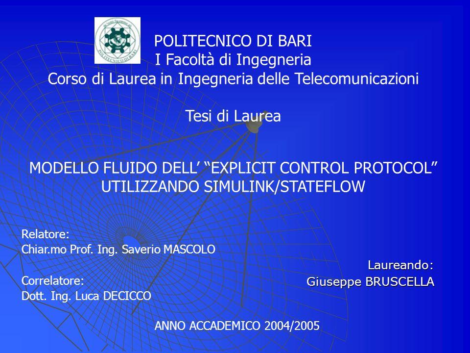 Relatore: Chiar.mo Prof.Ing. Saverio MASCOLO Correlatore: Dott.
