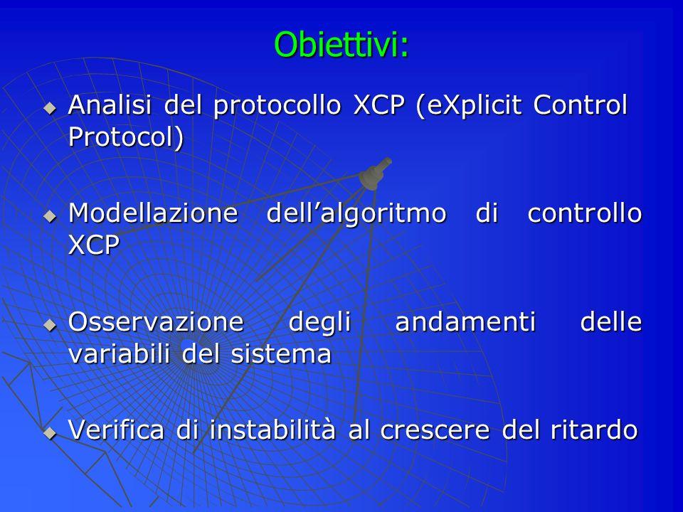 Obiettivi: Analisi del protocollo XCP (eXplicit Control Protocol) Analisi del protocollo XCP (eXplicit Control Protocol) Modellazione dellalgoritmo di controllo XCP Modellazione dellalgoritmo di controllo XCP Osservazione degli andamenti delle variabili del sistema Osservazione degli andamenti delle variabili del sistema Verifica di instabilità al crescere del ritardo Verifica di instabilità al crescere del ritardo