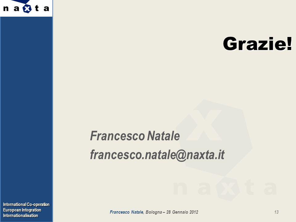 International Co-operation European Integration Internationalisation Grazie! Francesco Natale francesco.natale@naxta.it 13Francesco Natale, Bologna –