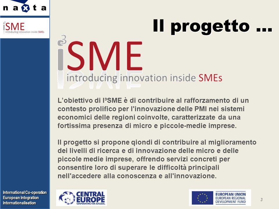 Internationalisation 3 Il progetto … Lobiettivo di I³SME è di contribuire al rafforzamento di un contesto prolifico per l innovazione delle PMI nei sistemi economici delle regioni coinvolte, caratterizzate da una fortissima presenza di micro e piccole-medie imprese.