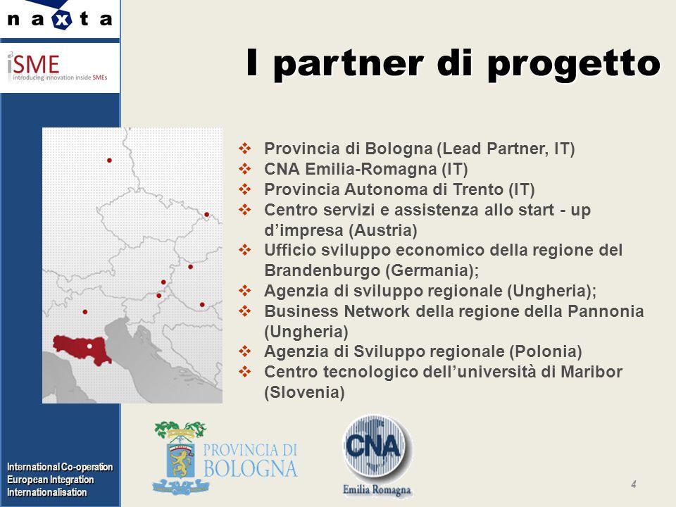 International Co-operation European Integration Internationalisation I partner di progetto 4 Provincia di Bologna (Lead Partner, IT) CNA Emilia-Romagn