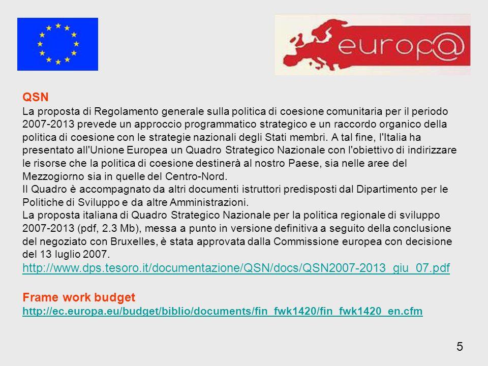 QSN La proposta di Regolamento generale sulla politica di coesione comunitaria per il periodo 2007-2013 prevede un approccio programmatico strategico