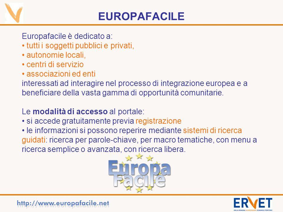EUROPAFACILE Europafacile è dedicato a: tutti i soggetti pubblici e privati, autonomie locali, centri di servizio associazioni ed enti interessati ad interagire nel processo di integrazione europea e a beneficiare della vasta gamma di opportunità comunitarie.