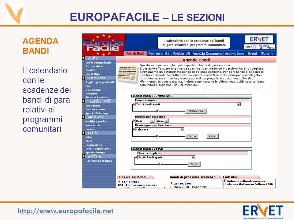 EUROPAFACILE – LE SEZIONI AGENDA BANDI Il calendario con le scadenze dei bandi di gara relativi ai programmi comunitari
