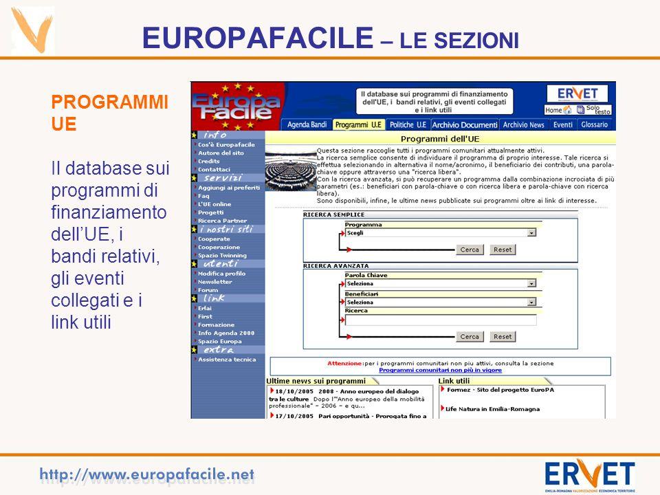 EUROPAFACILE – LE SEZIONI PROGRAMMI UE Il database sui programmi di finanziamento dellUE, i bandi relativi, gli eventi collegati e i link utili