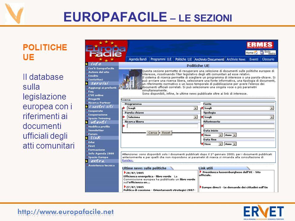 EUROPAFACILE – LE SEZIONI POLITICHE UE Il database sulla legislazione europea con i riferimenti ai documenti ufficiali degli atti comunitari