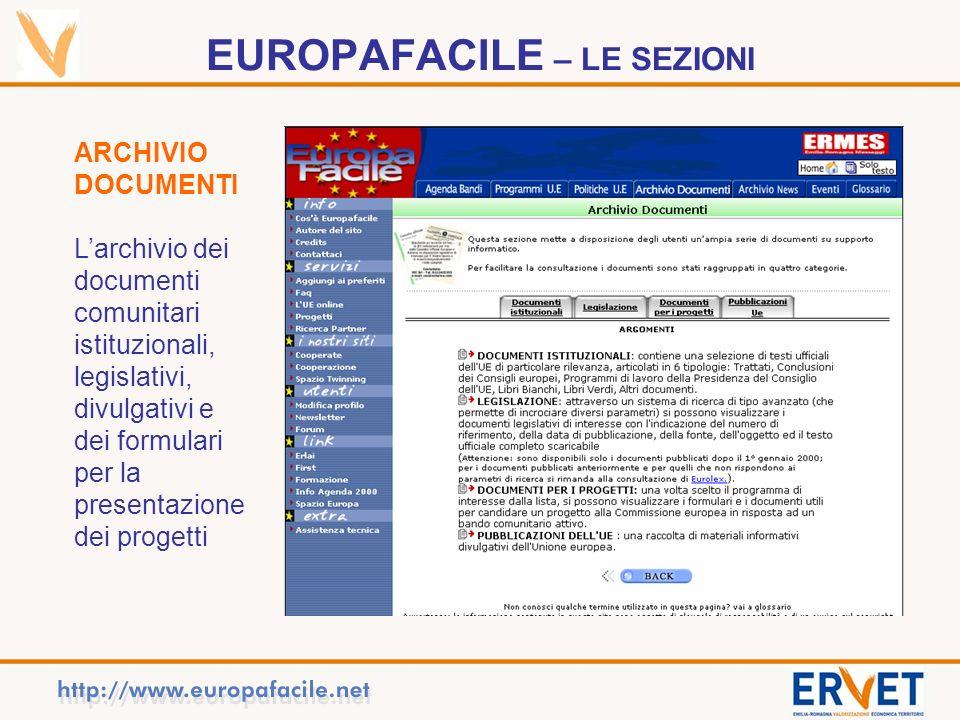 EUROPAFACILE – LE SEZIONI ARCHIVIO DOCUMENTI Larchivio dei documenti comunitari istituzionali, legislativi, divulgativi e dei formulari per la presentazione dei progetti