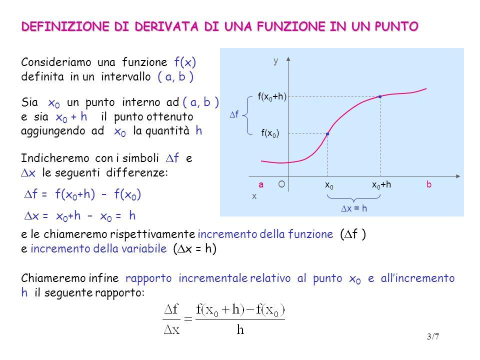 3/7 DEFINIZIONE DI DERIVATA DI UNA FUNZIONE IN UN PUNTO O x y f(x 0 ) f(x 0 +h) x = h f Consideriamo una funzione f(x) definita in un intervallo ( a, b ) Sia x 0 un punto interno ad ( a, b ) e sia x 0 + h il punto ottenuto aggiungendo ad x 0 la quantità h Indicheremo con i simboli f e x le seguenti differenze: f = f(x 0 +h) – f(x 0 ) x = x 0 +h – x 0 = h Chiameremo infine rapporto incrementale relativo al punto x 0 e allincremento h il seguente rapporto: e le chiameremo rispettivamente incremento della funzione ( f ) e incremento della variabile ( x = h) ab.