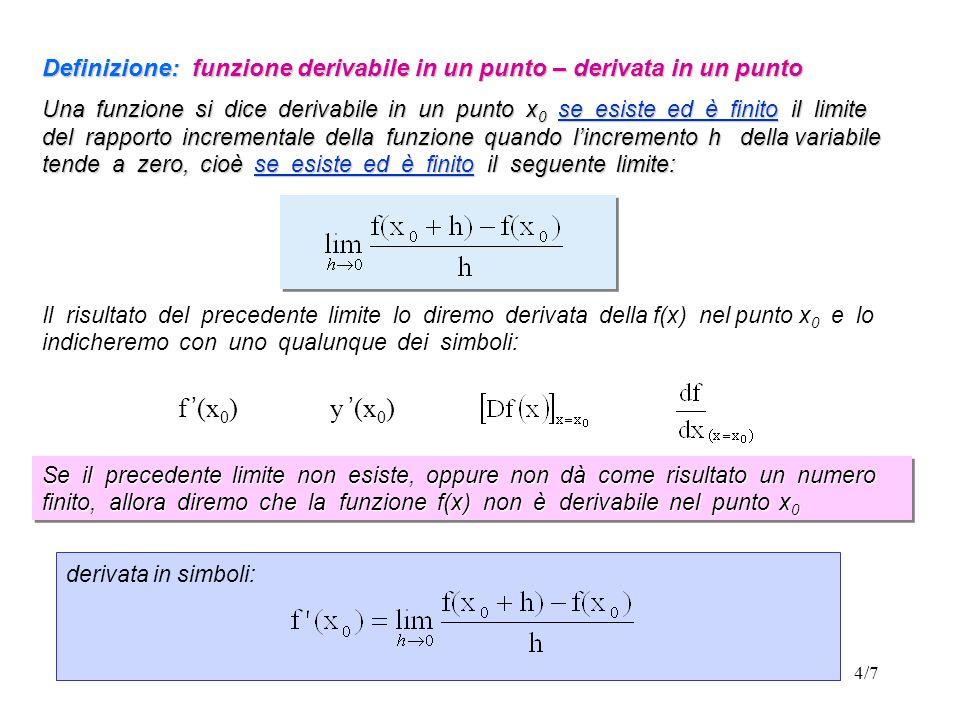 4/7 Definizione: funzione derivabile in un punto – derivata in un punto Una funzione si dice derivabile in un punto x 0 se esiste ed è finito il limite del rapporto incrementale della funzione quando lincremento h della variabile tende a zero, cioè se esiste ed è finito il seguente limite: Il risultato del precedente limite lo diremo derivata della f(x) nel punto x 0 e lo indicheremo con uno qualunque dei simboli: f (x 0 ) y (x 0 ) Se il precedente limite non esiste, oppure non dà come risultato un numero finito, allora diremo che la funzione f(x) non è derivabile nel punto x 0 derivata in simboli: