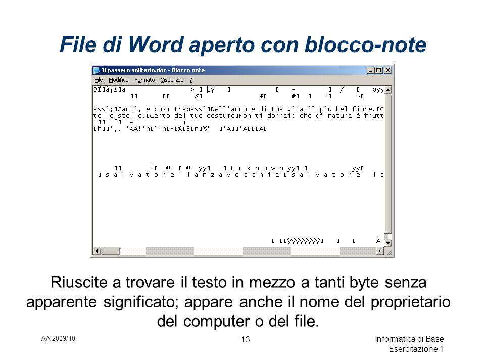 AA 2009/10 Informatica di Base Esercitazione 1 13 File di Word aperto con blocco-note Riuscite a trovare il testo in mezzo a tanti byte senza apparente significato; appare anche il nome del proprietario del computer o del file.