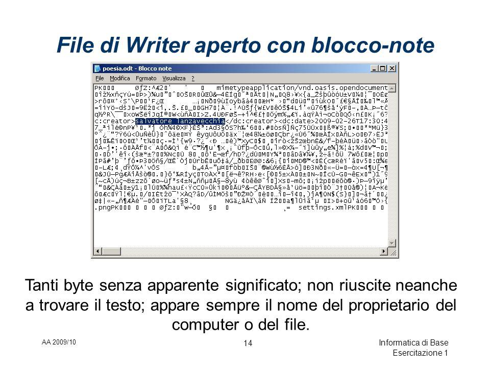 AA 2009/10 Informatica di Base Esercitazione 1 14 File di Writer aperto con blocco-note Tanti byte senza apparente significato; non riuscite neanche a trovare il testo; appare sempre il nome del proprietario del computer o del file.